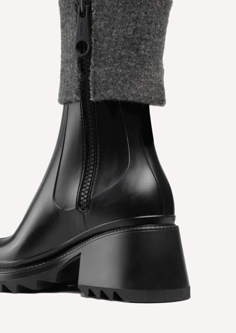 Betty black sock-effect rain boots