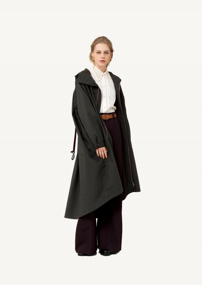Obsidian brown nylon parka coat