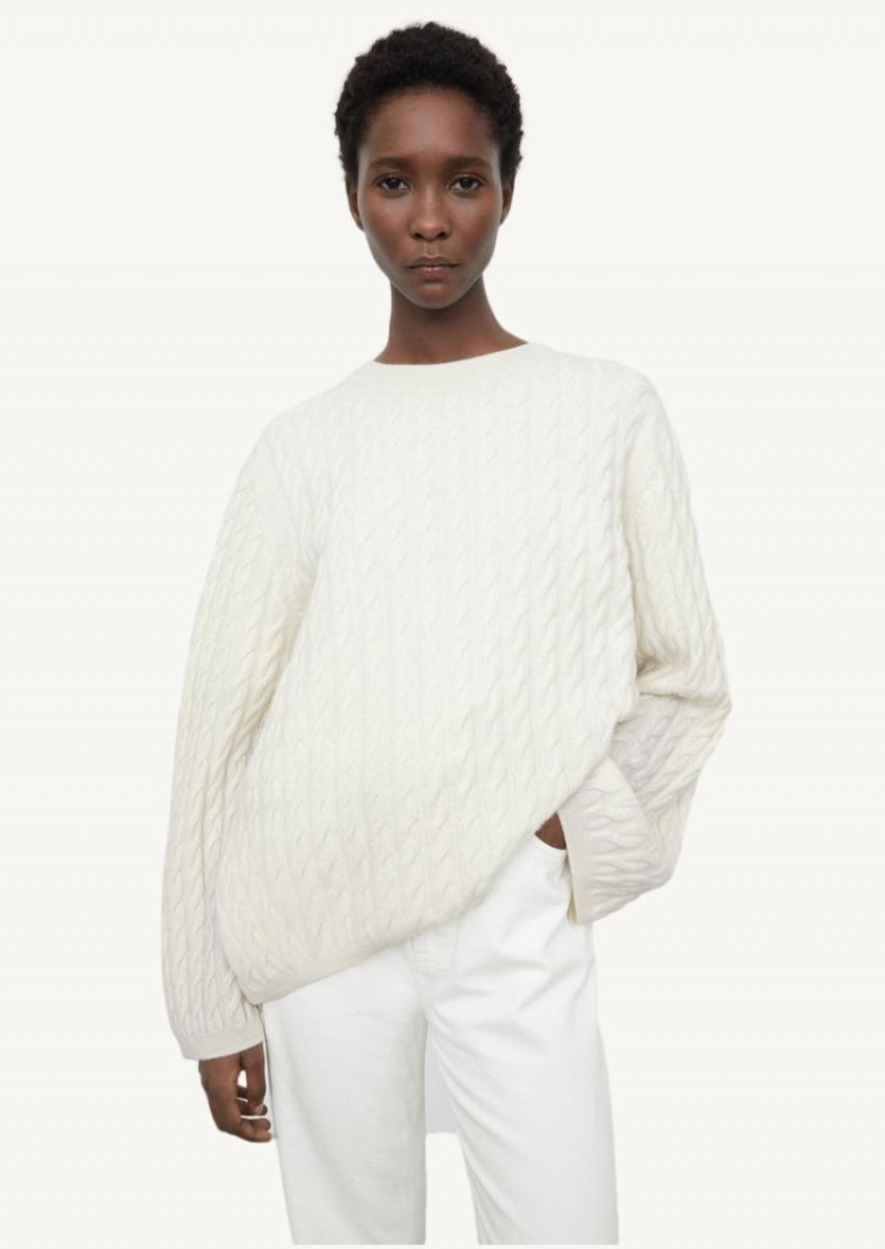 Off white cable-knit cashmere sweater