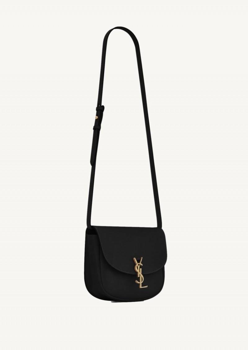 Kaia medium satchel en cuir lisse noir