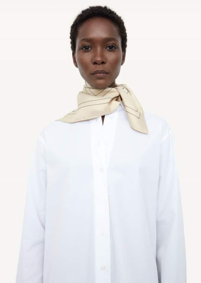 Cream monogram embroidered silk scarf