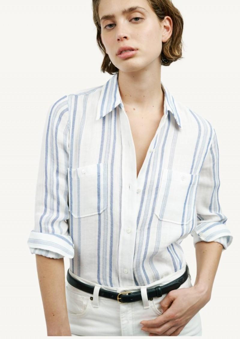 Chemise Kaya rayée bleue et blanche