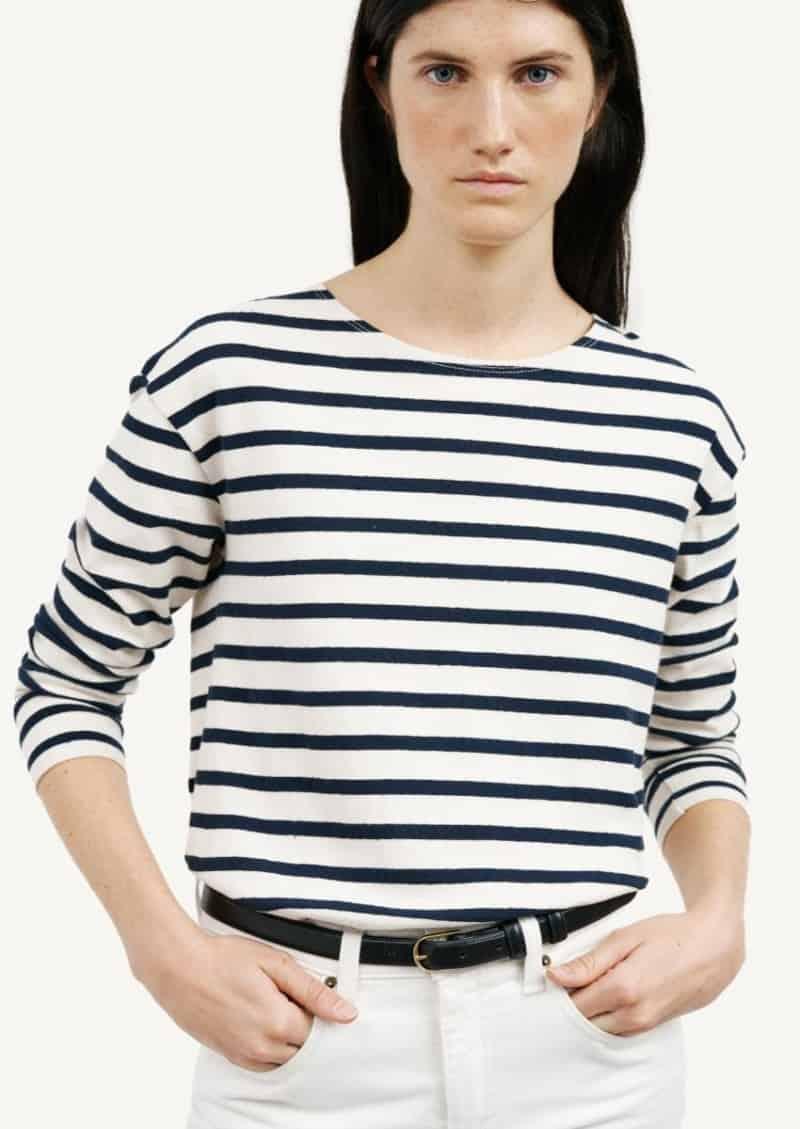 T-shirt Arlette rayé ivoire et marine