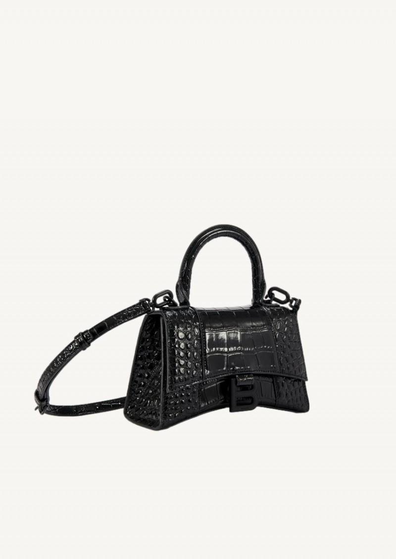 Black Hourglass XS Top Handle bag in croco