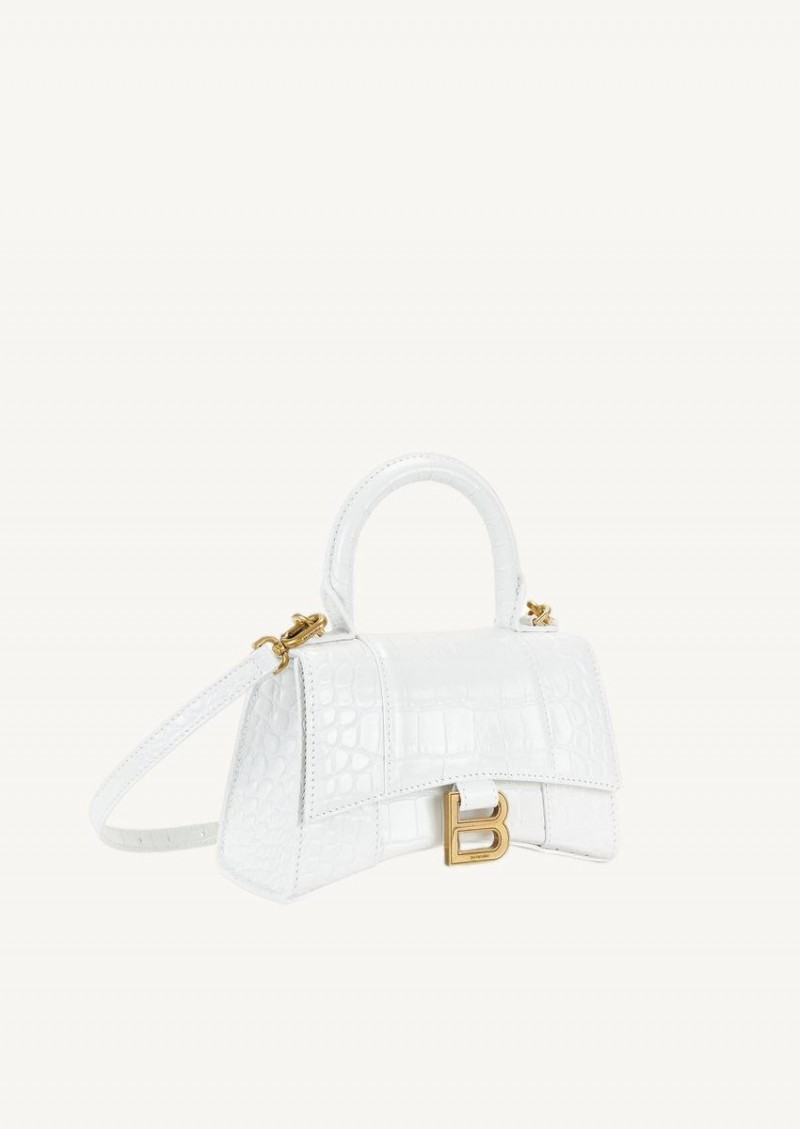 White Hourglass XS Top Handle bag in croco