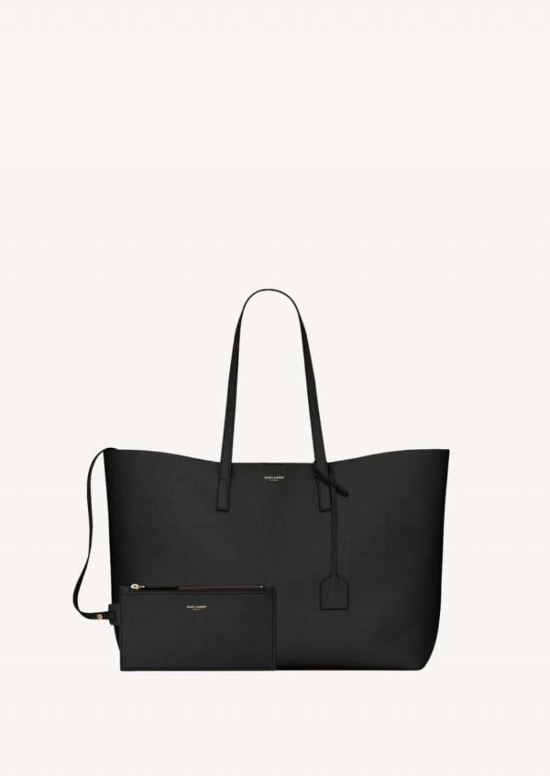 Shopping bag en cuir souple noir