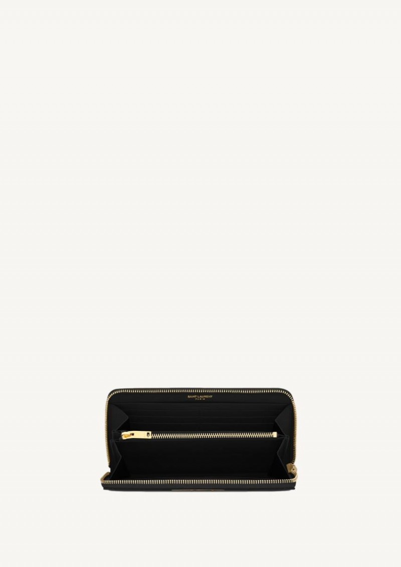 Black classic monogram wallet with gold finish