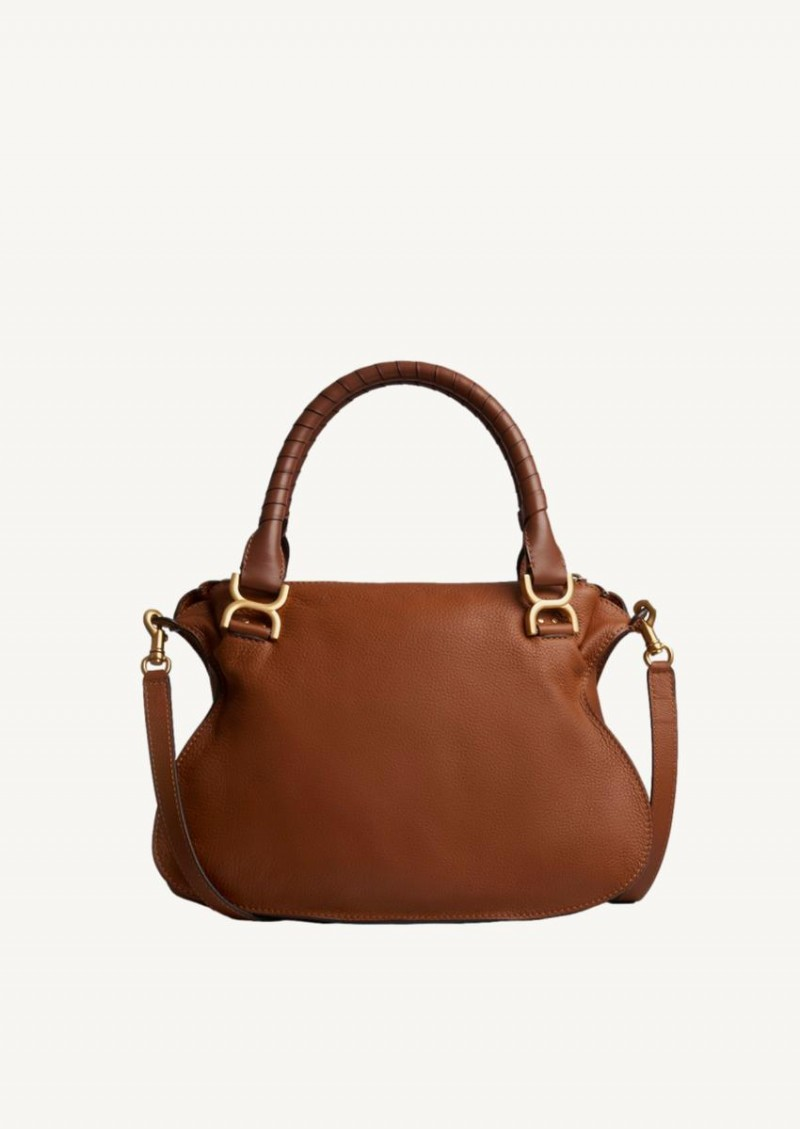 Tan Marcie double carry bag in grained calfskin