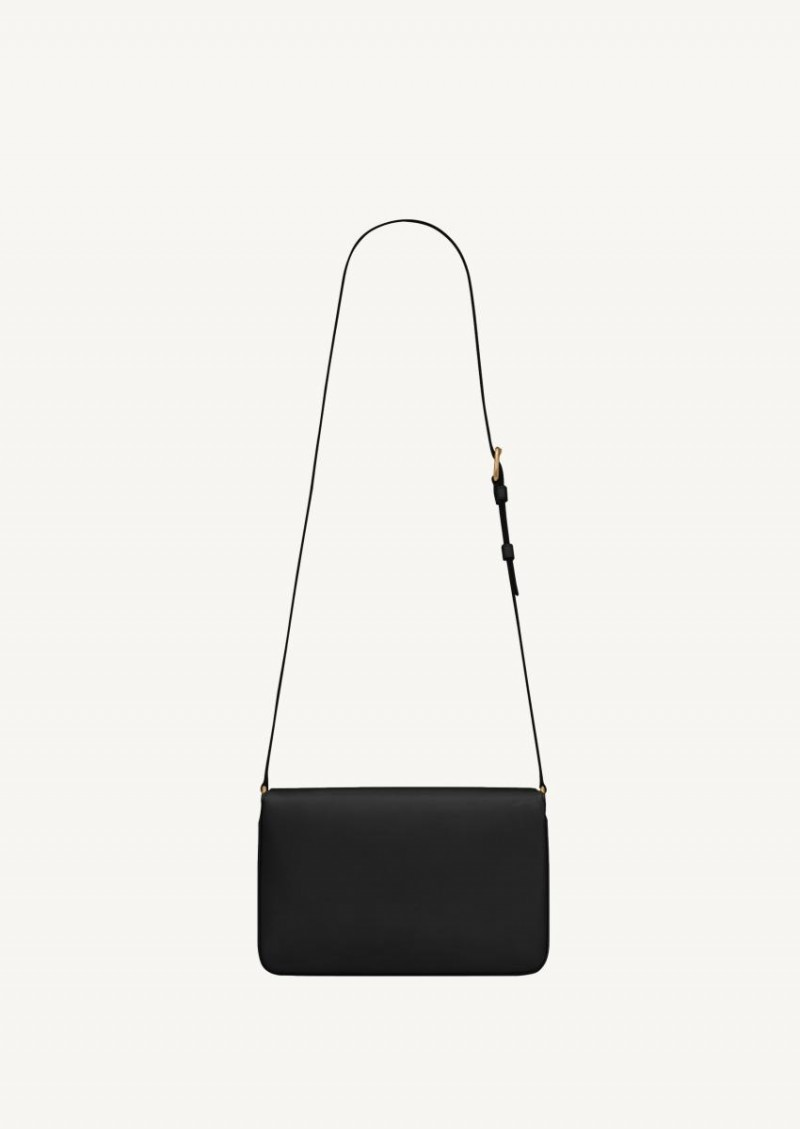 Le maillon satchel en cuir lisse noir