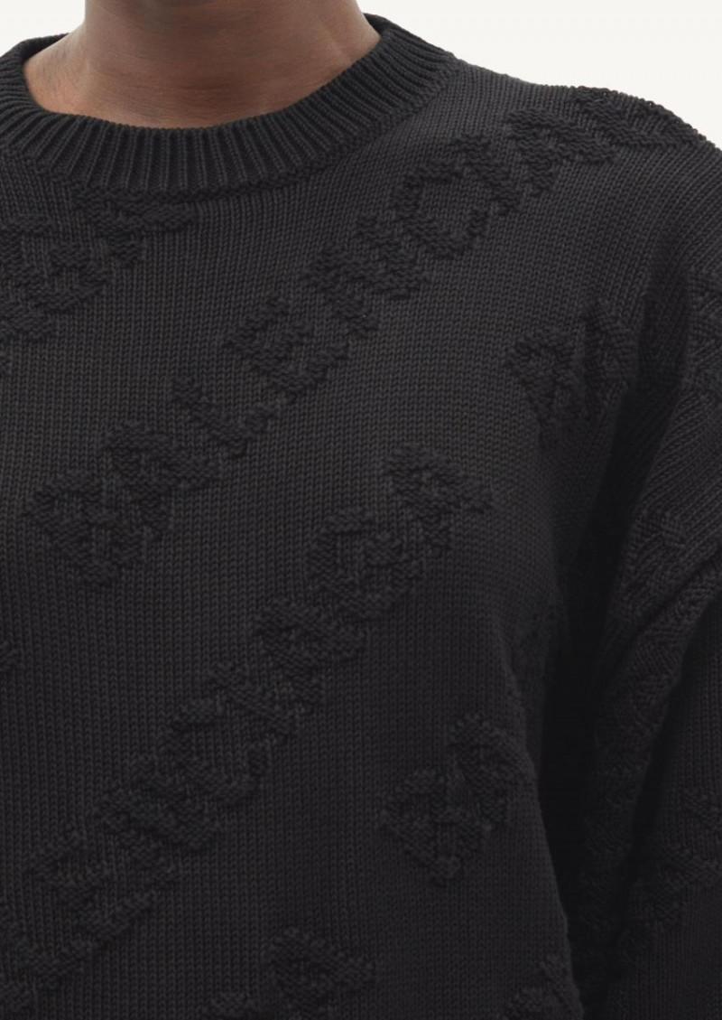 Pull en jacquard de coton noir