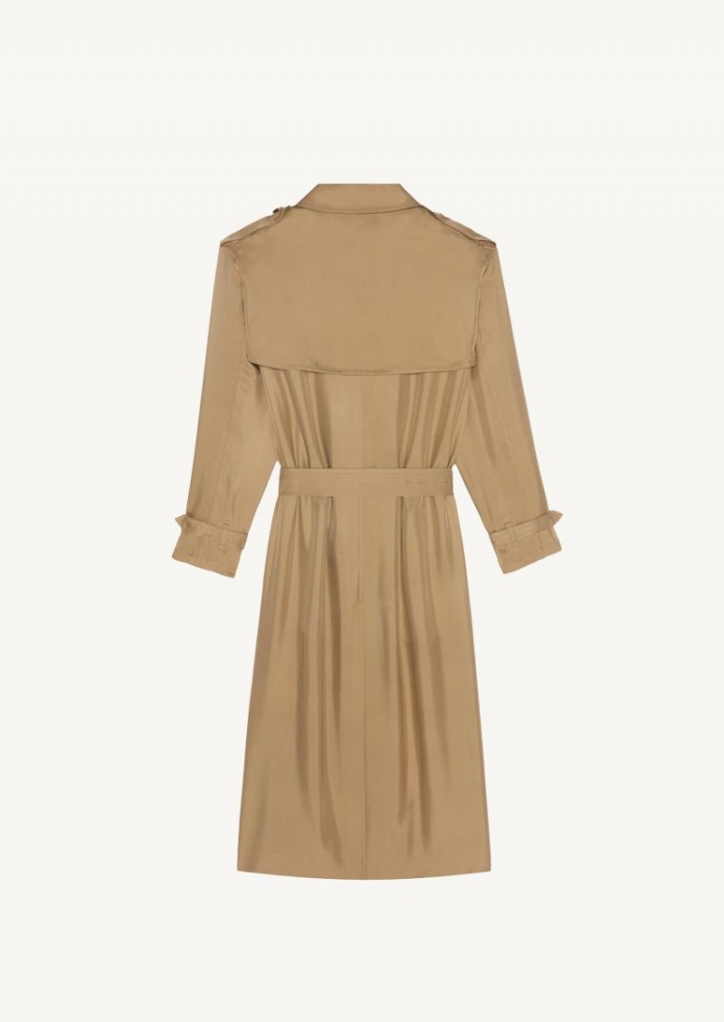 Beige silk trench coat