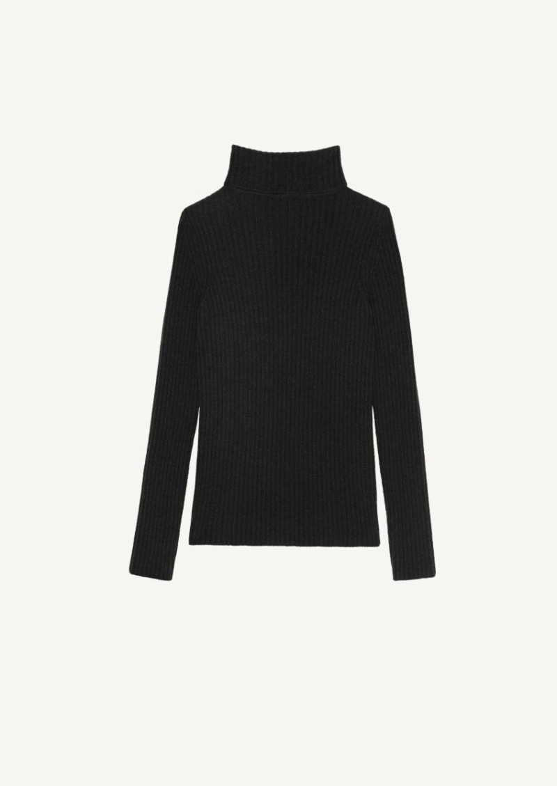 Black ribbed turtleneck sweater in wool and cashmere