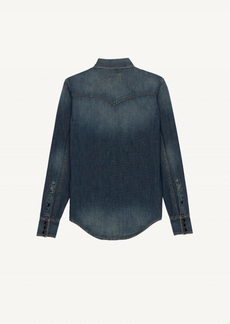 Deep vintage blue denim western shirt