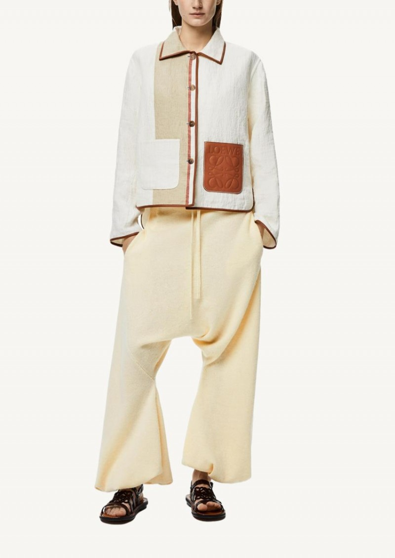 Ivory and tan Striped button-down jacket in cotton and linen