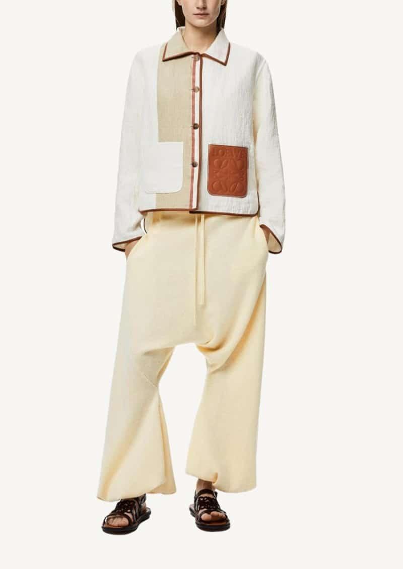 Veste boutonnée rayée en coton et lin ivoire et tan