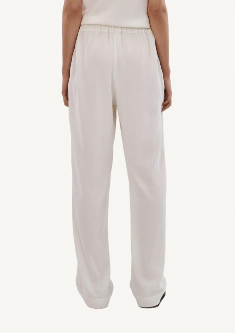Ivory Elastic Waist Trouser In Stretch Crepe