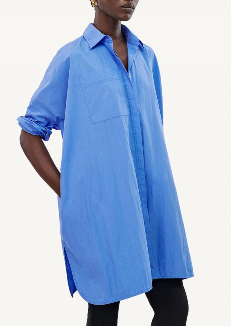 Chemisier tunique bleu Oxford