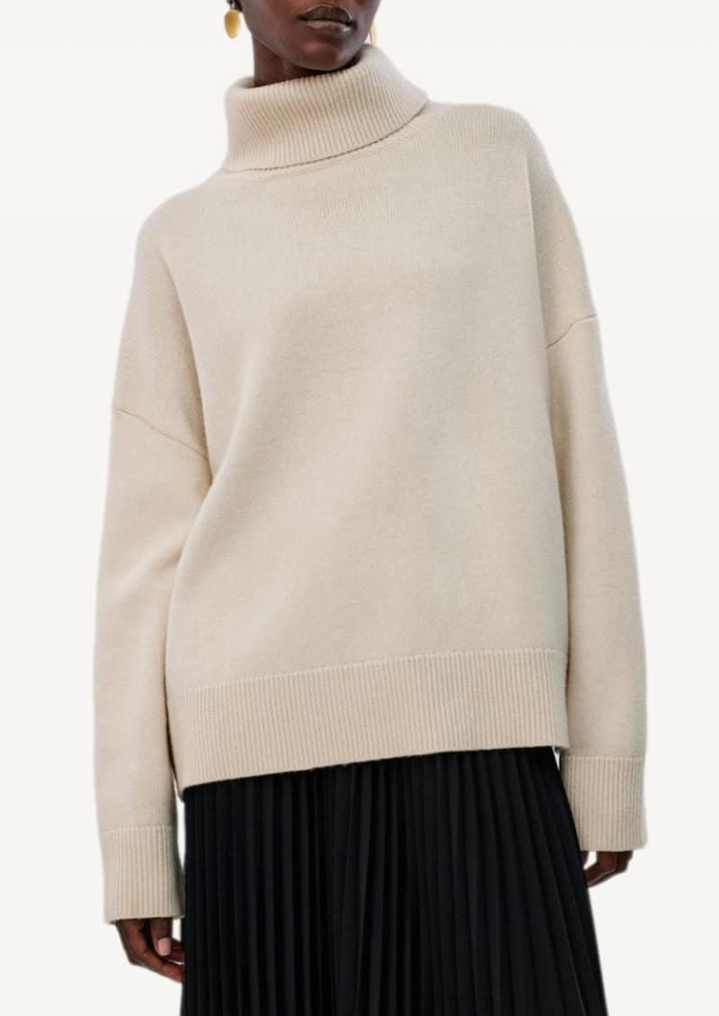 Ivory Boxy Turtleneck Sweater