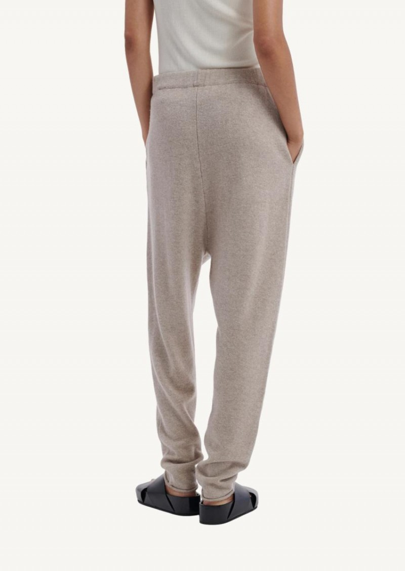 Pantalon de joging à cordon en tricot beige