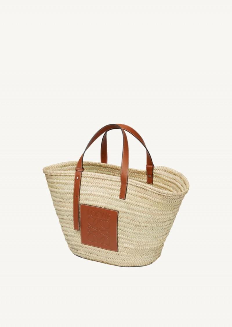 Large Basket bag in palm leaf and calfskin