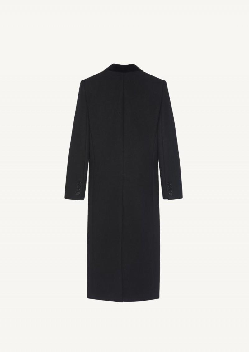 Long double-breasted black gabardine coat