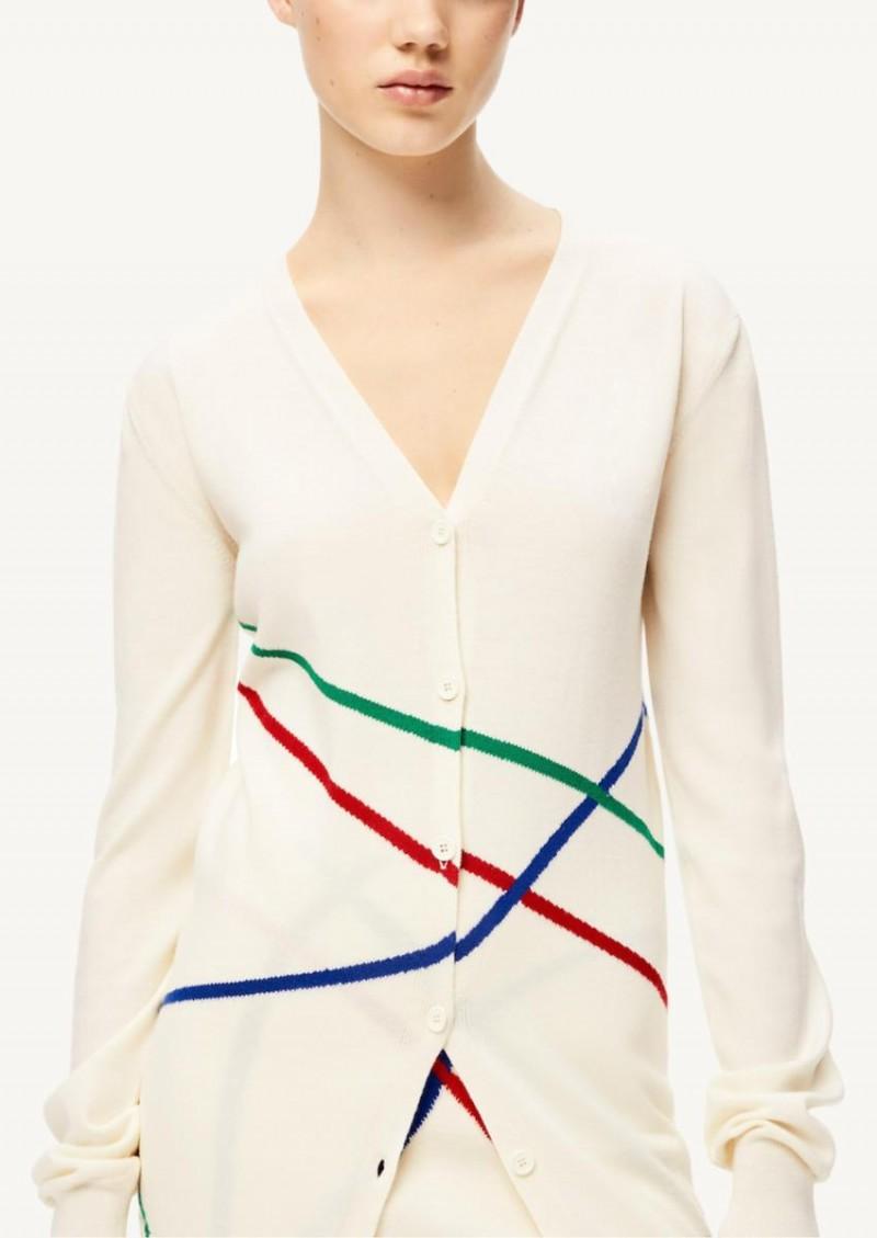 Ecru and multicolor Graphic jacquard long cardigan