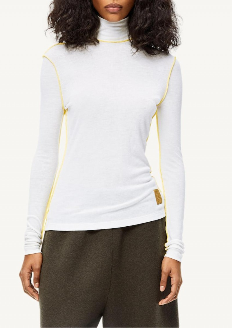 White and yellow High neck ribbed top