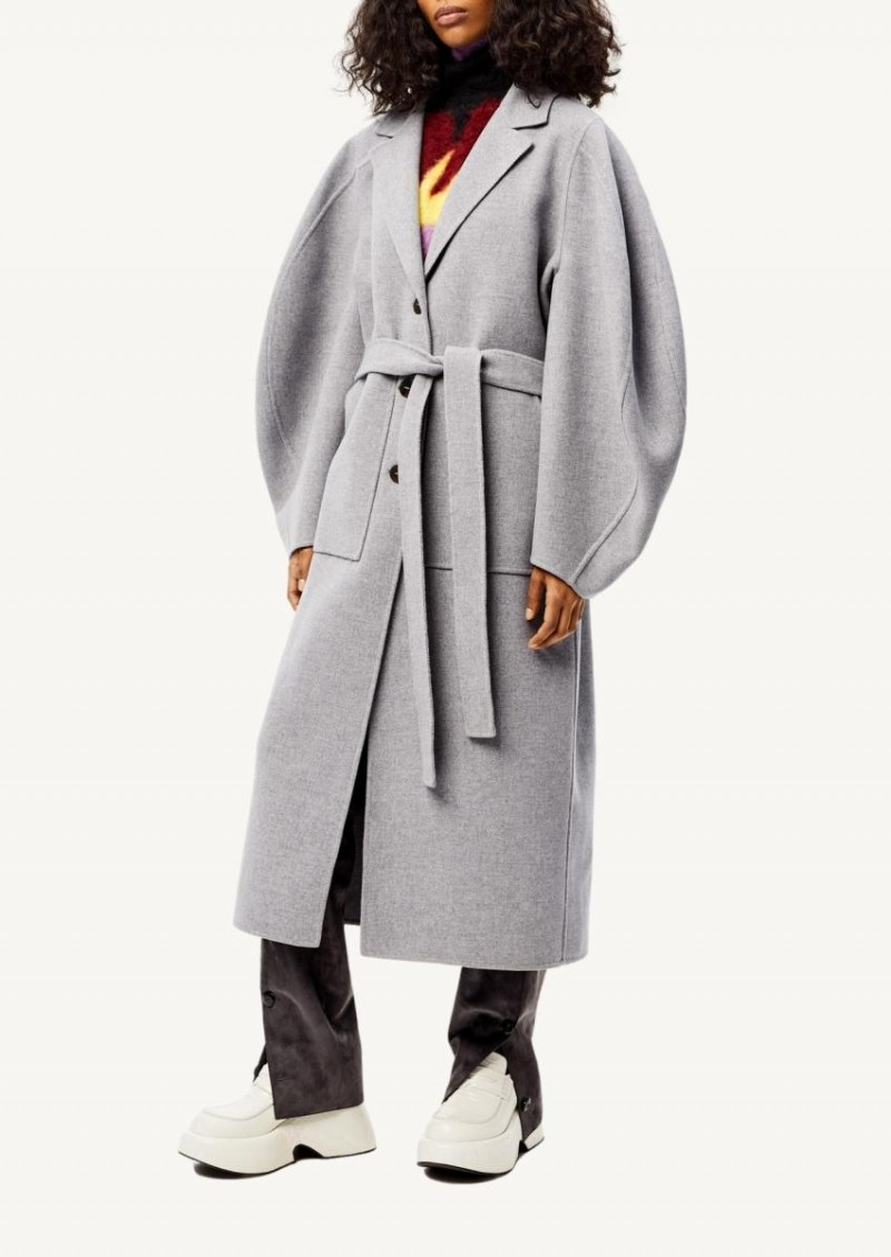 Grey Circular sleeve belted coat