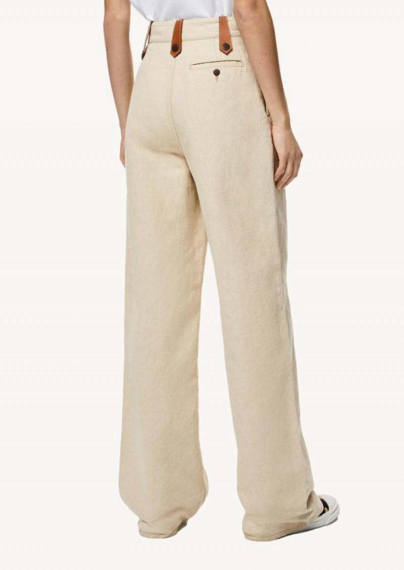 Pantalon flare en coton et lin desert