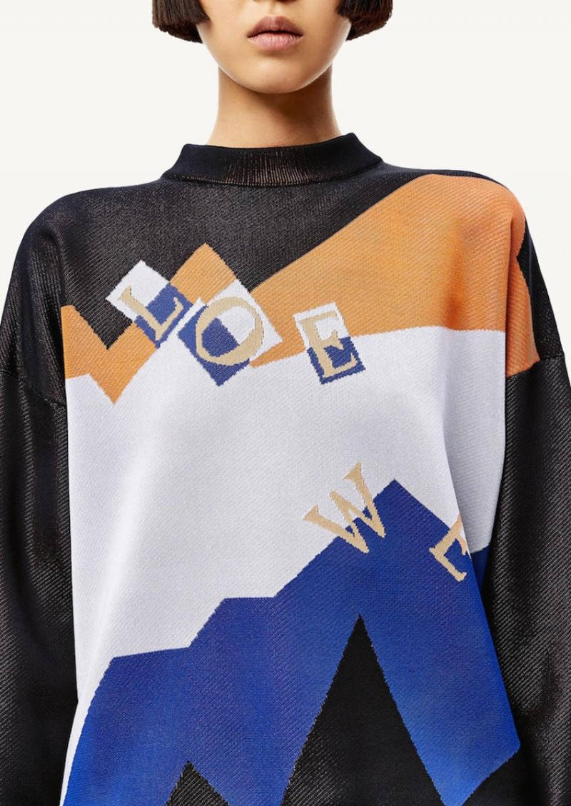 Pull en jacquard noir, bleu et orange