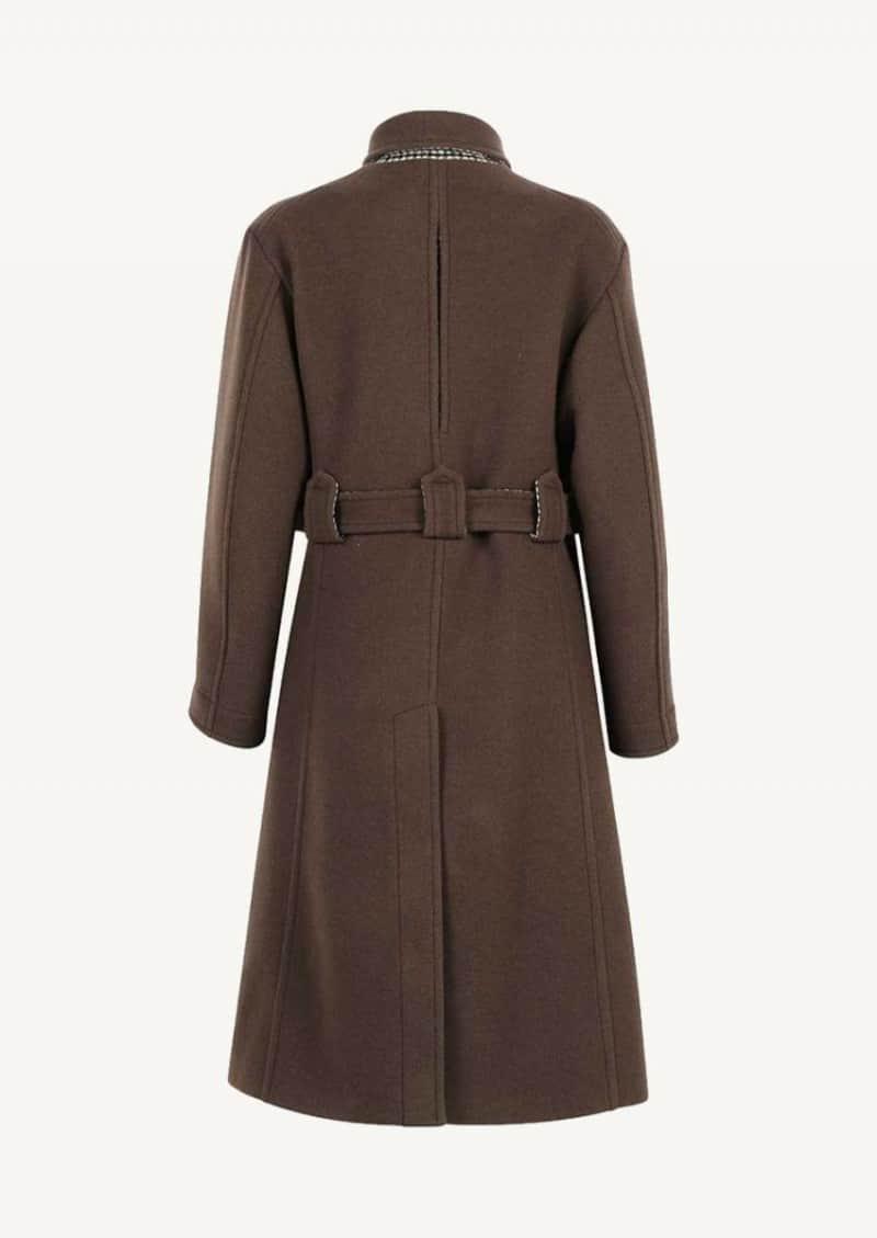 Manteau mi-long à ceinture marron