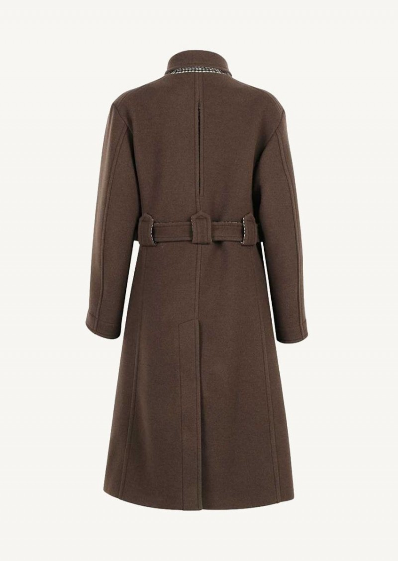 Roasted brown Belted mid-length coat
