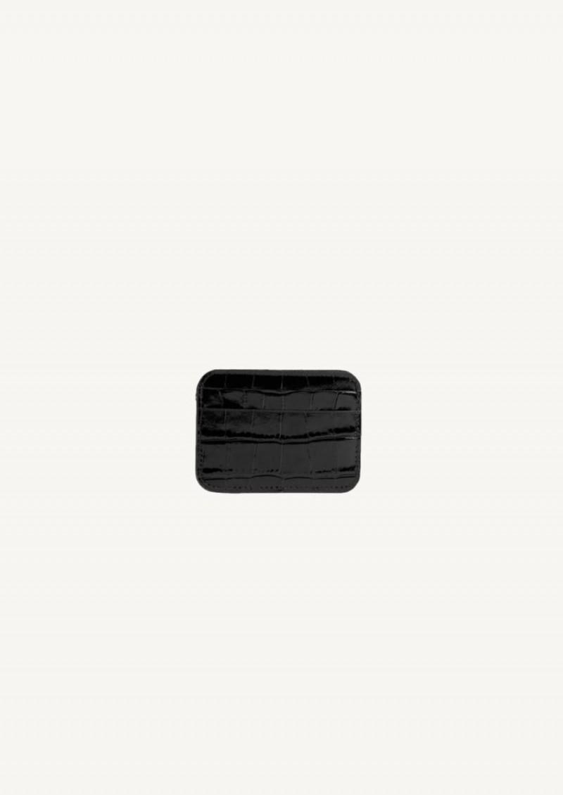 Black crocodile embossed leather Cash card holder