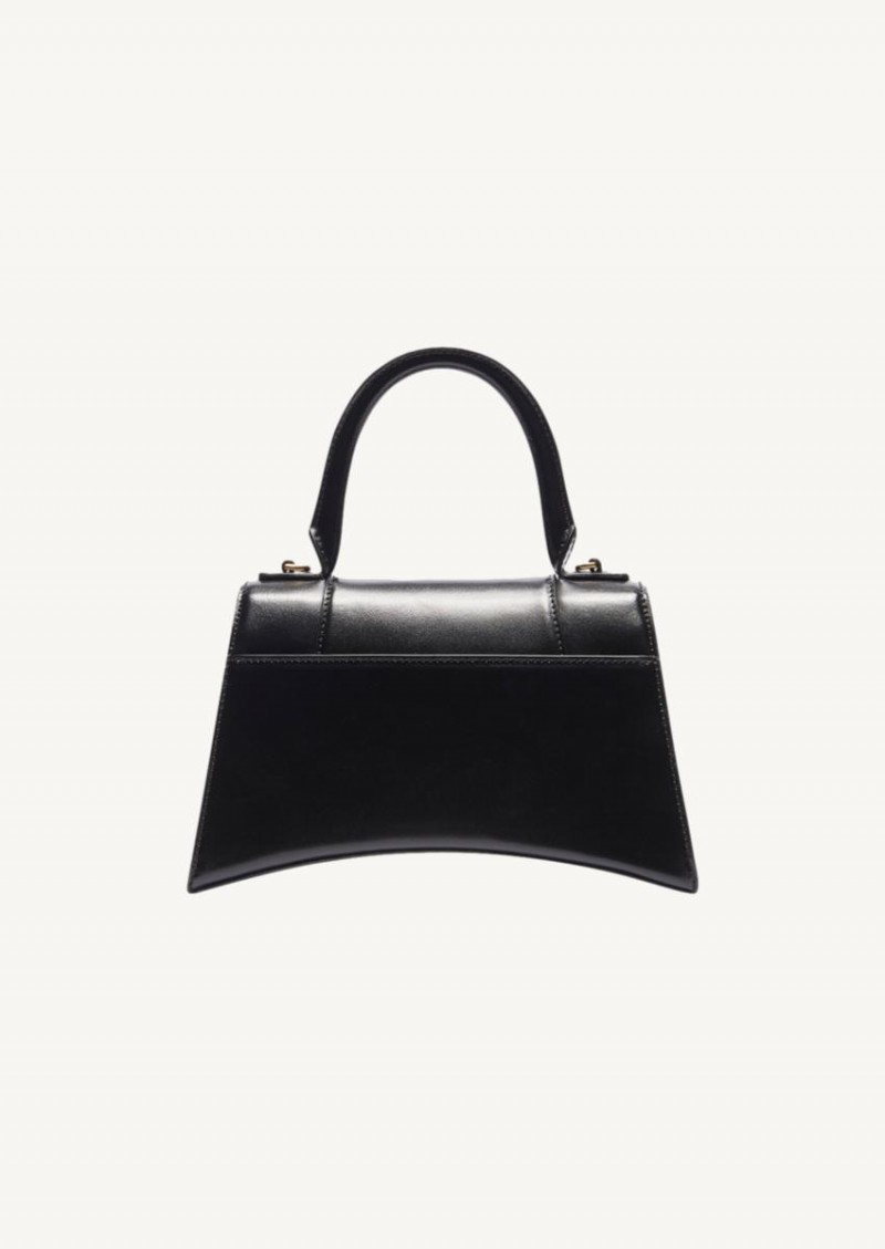 Petit sac top handle Hourglass cuir brillant noir
