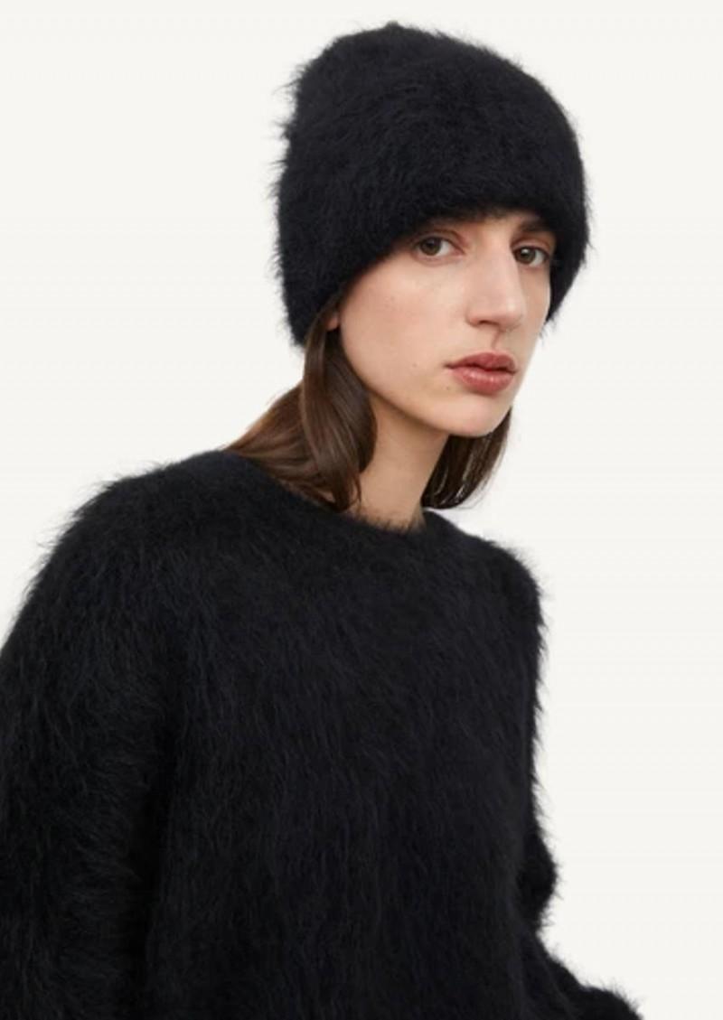 Bonnet en tricot d'alpaga noir