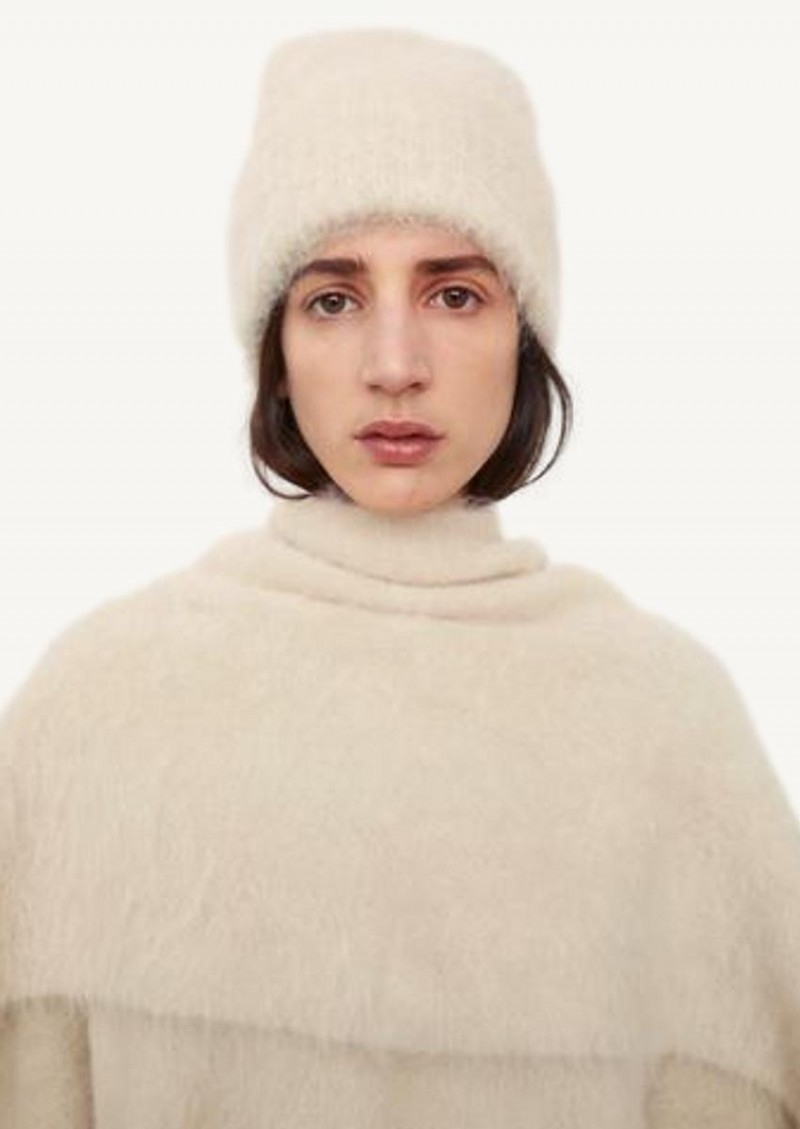 Creme Alpaca knit beanie