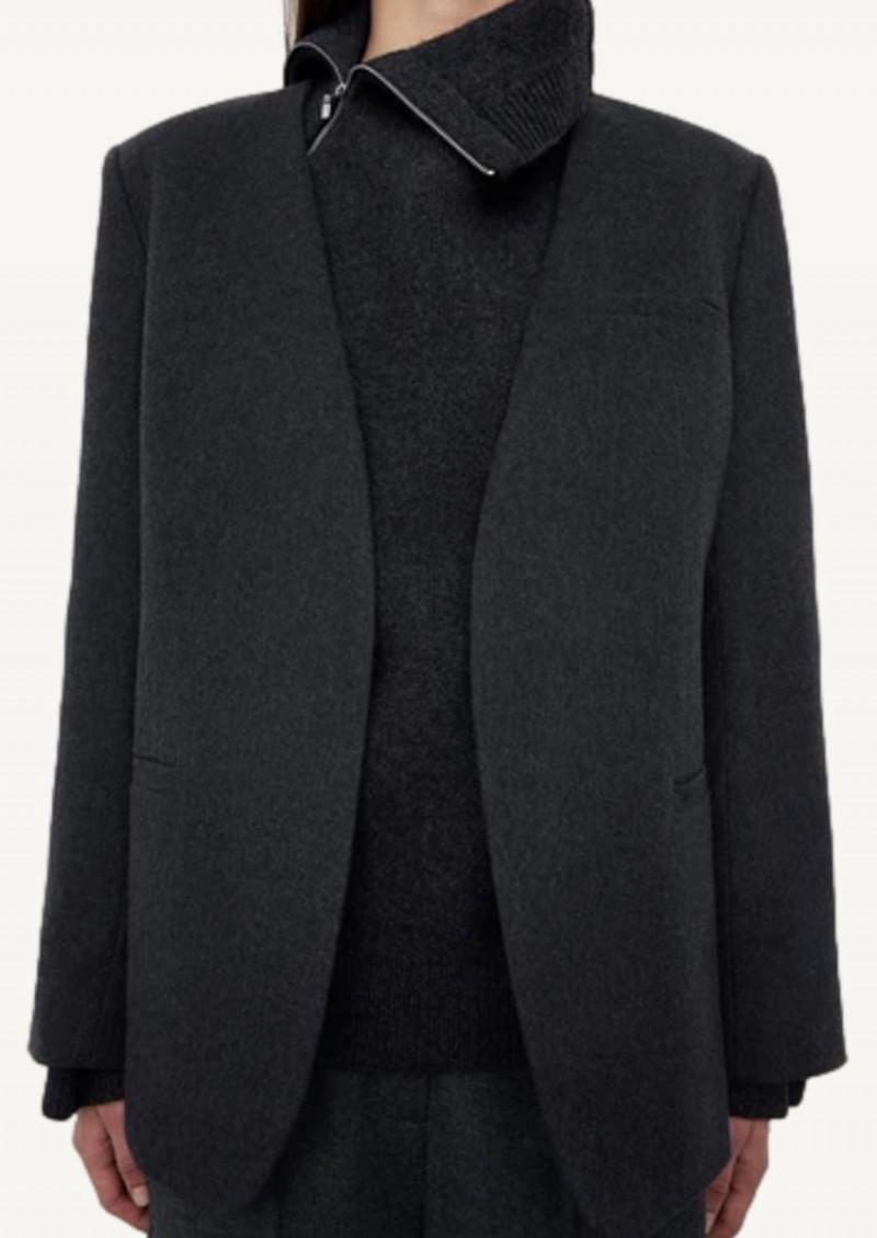 Dark grey melange recycled cashmere blazer