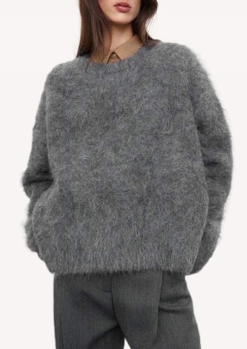 Dark grey melange Boxy alpaca knit