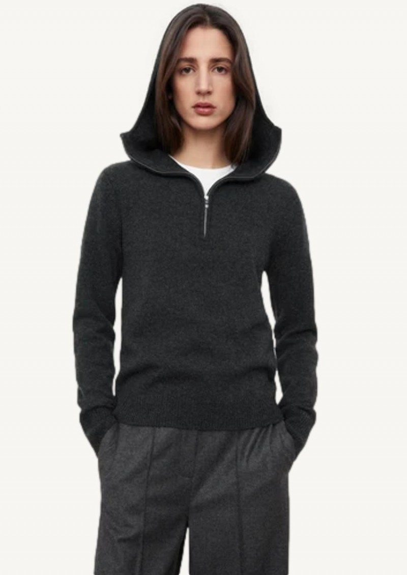 Dark grey melange Cashmere hoodie