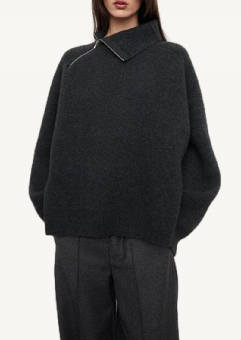 Dark grey melange Double-sided yak knit