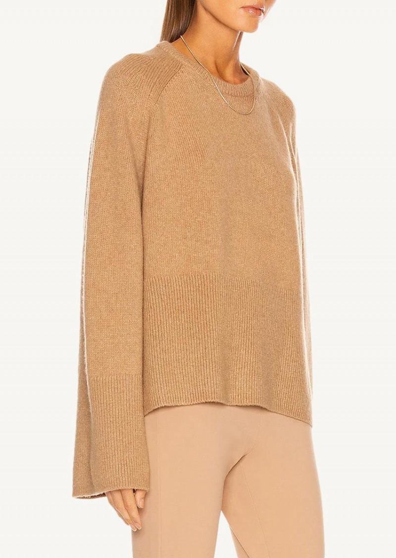 Pull en tricot de mérinos camel
