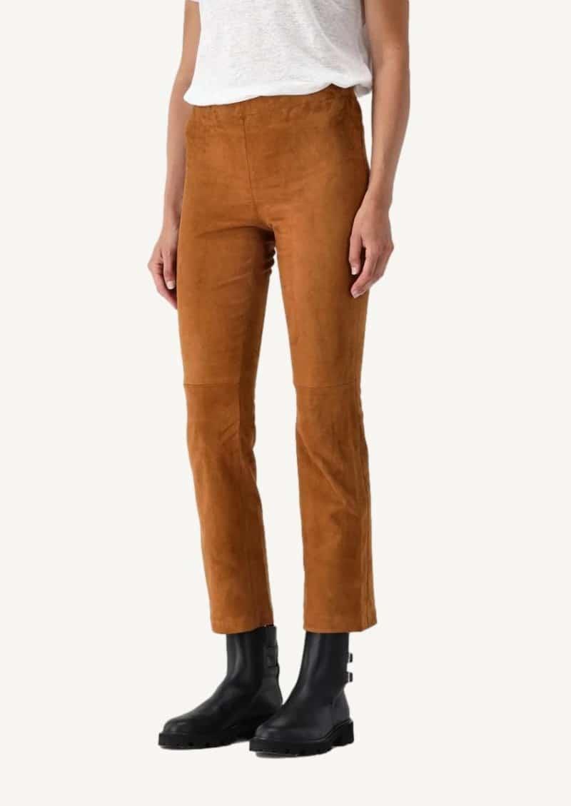 Pantalon court et évasé en cuir stretch JP Twenty tan