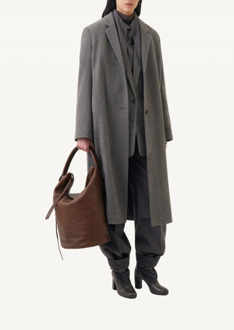 Taupe grey coat with slits