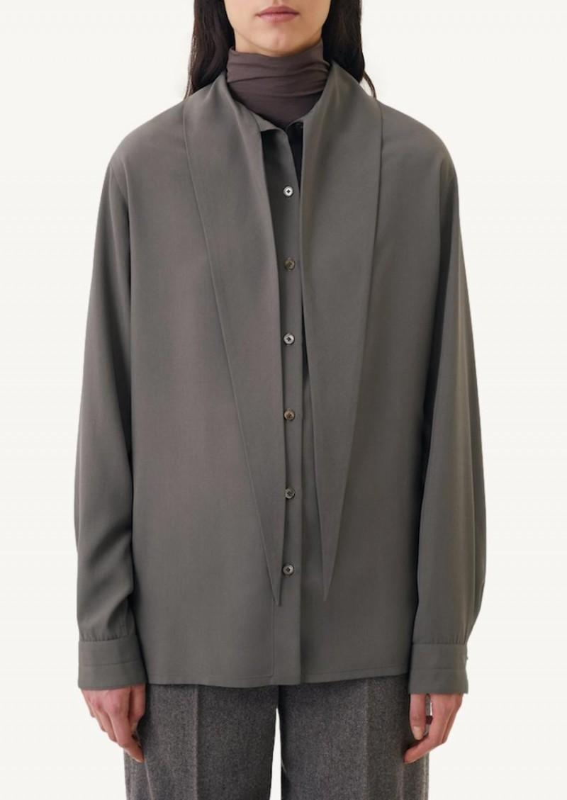 Chemise à col noué grise