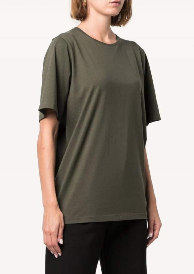T-shirt en coton oversize vert foncé