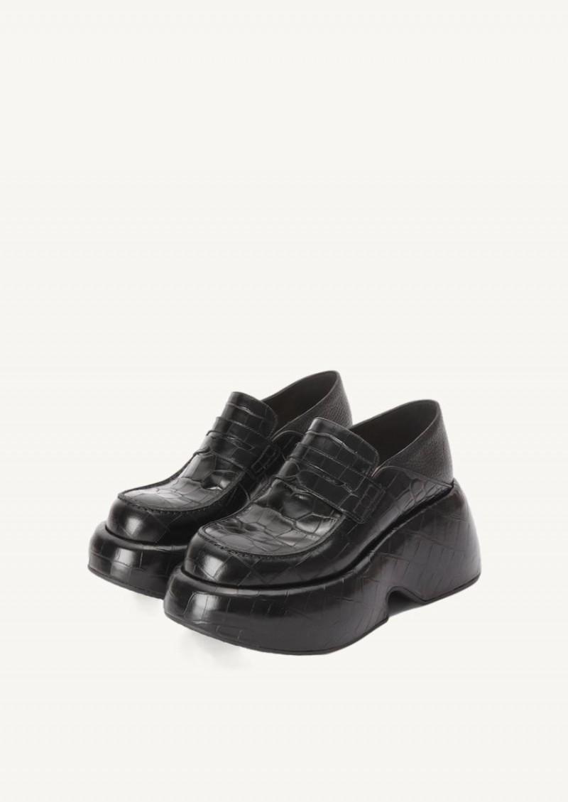 Black Wedge slip on loafer
