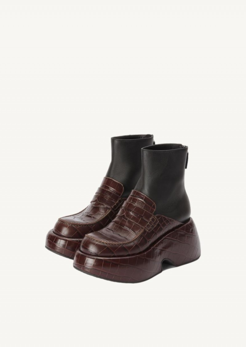 Dark brown and black Wedge loafer boot