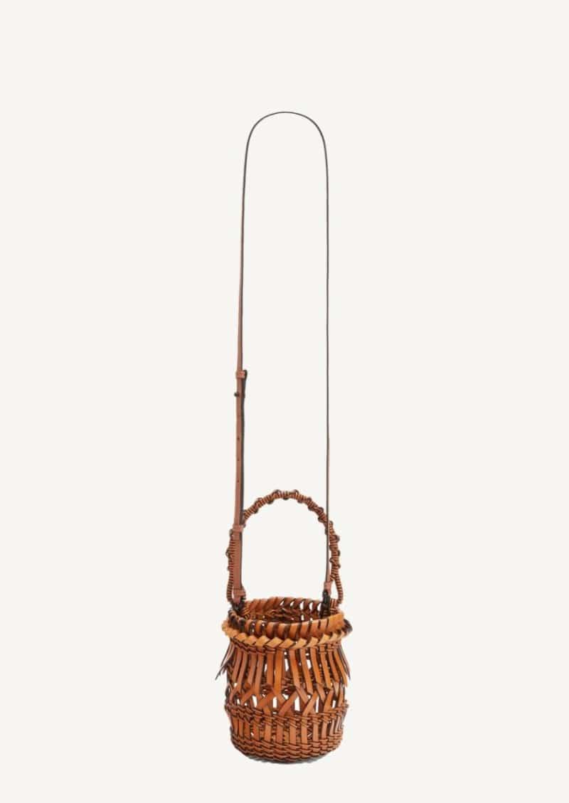 Tan small Franges bucket bag