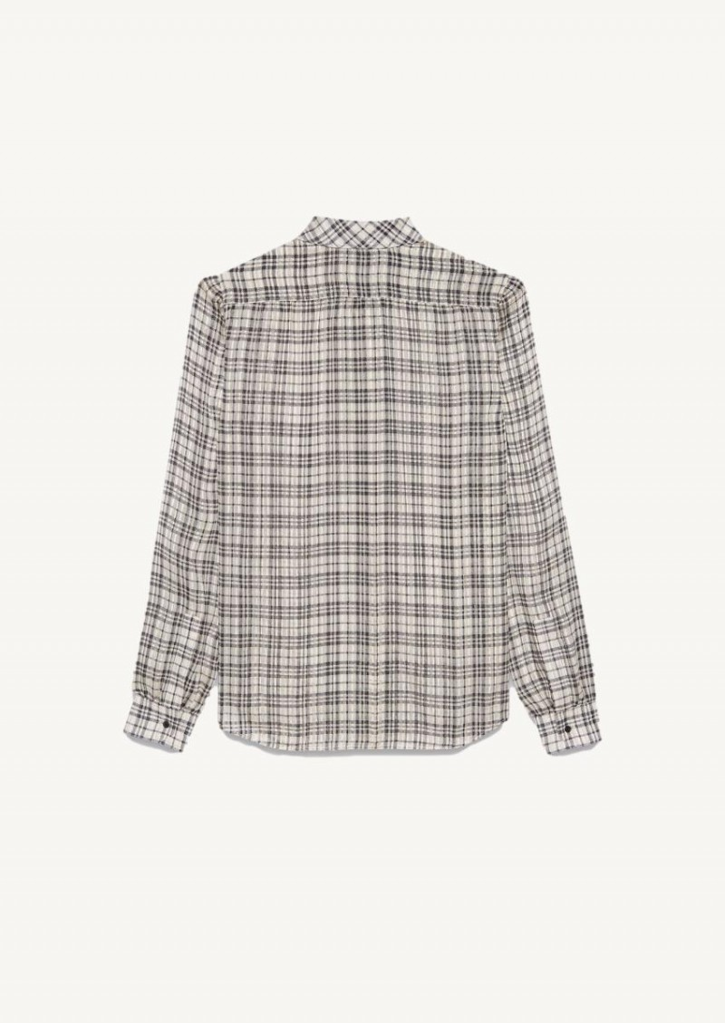 Black and gold Lavallière checkered blouse