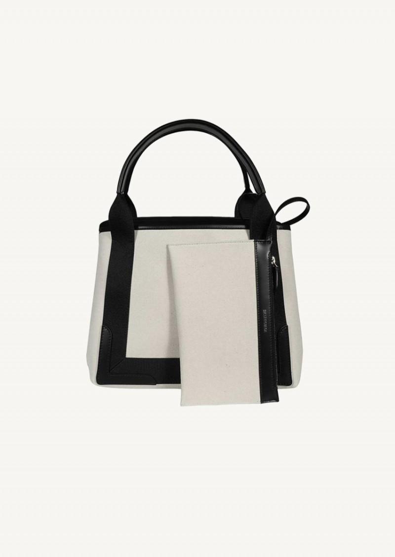 Black and natural Tote bag Navy Small model